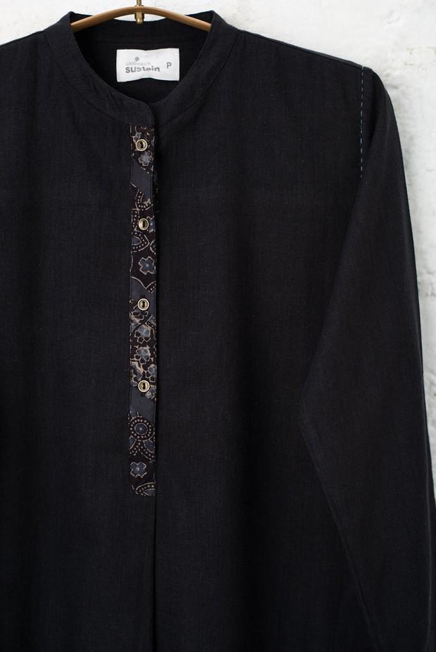 Rozana Azra Cotton Tunic (Black)