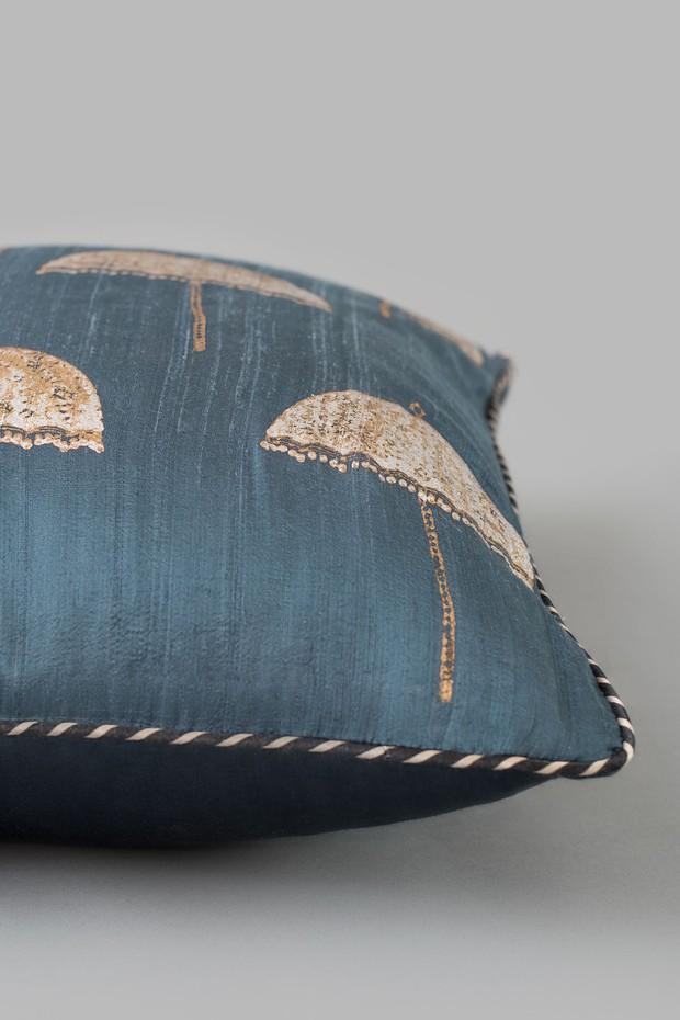 Mysore Chatri Silk Cushion (Indigo)