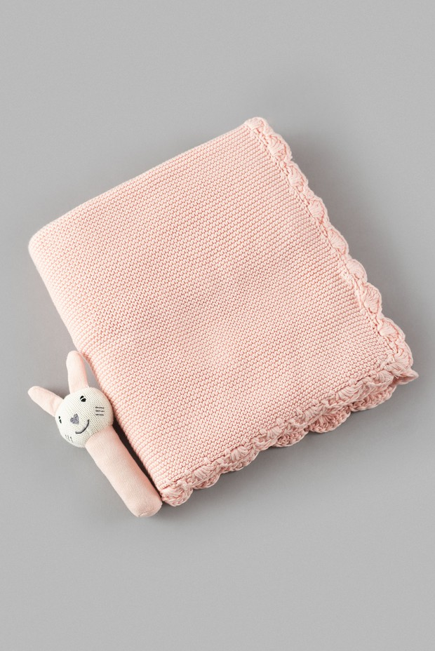 Knit Cotton Blanket with Bunny Toy