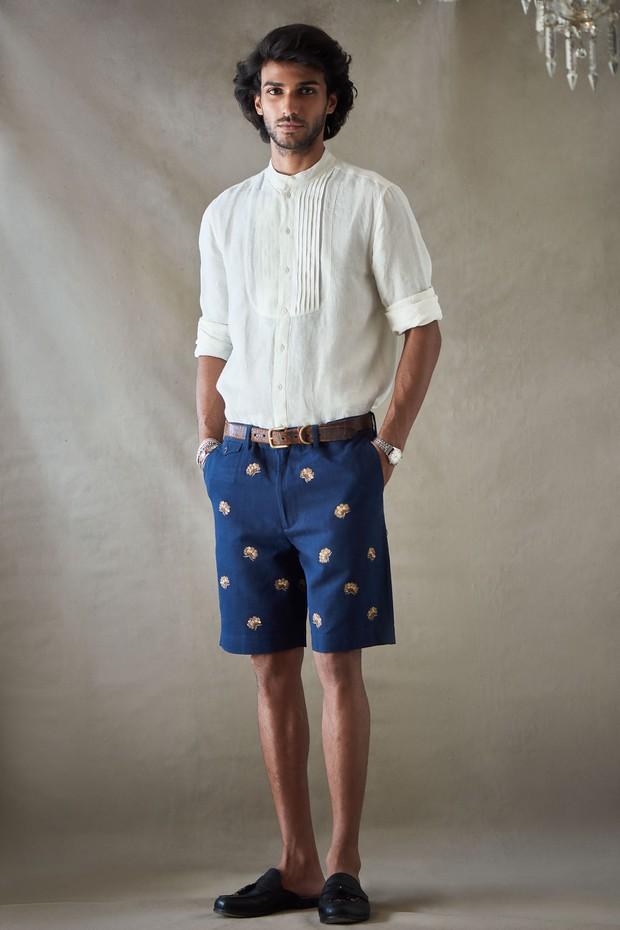 Abeer Soomra Pintuck Linen Shirt - Ivory