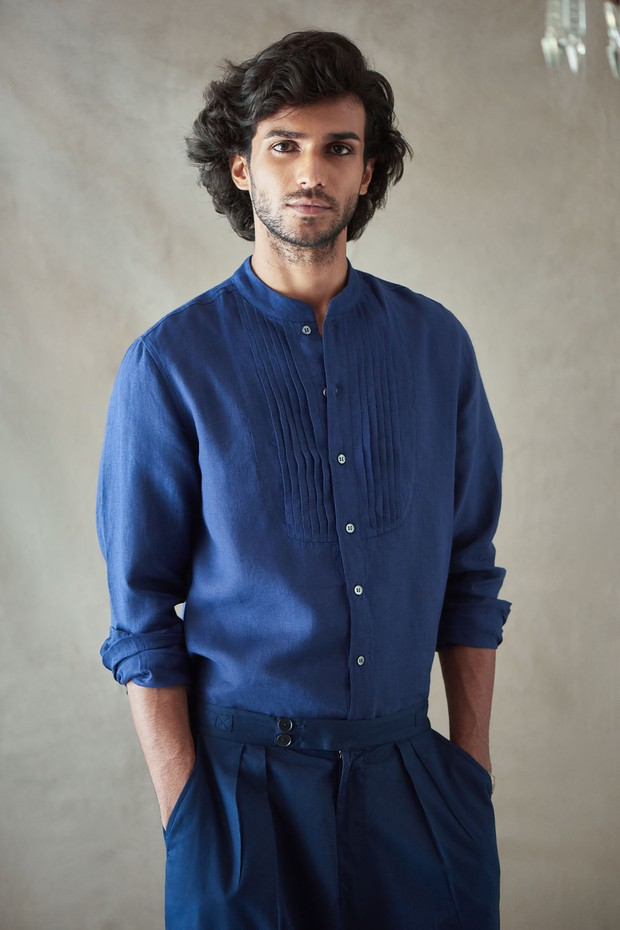 Abeer Soomra Pintuck Linen Shirt - Indigo