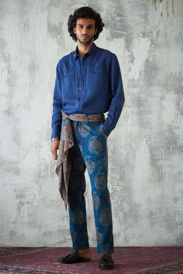 Abeer Adhoi Flat Front Cotton Pant - Indigo