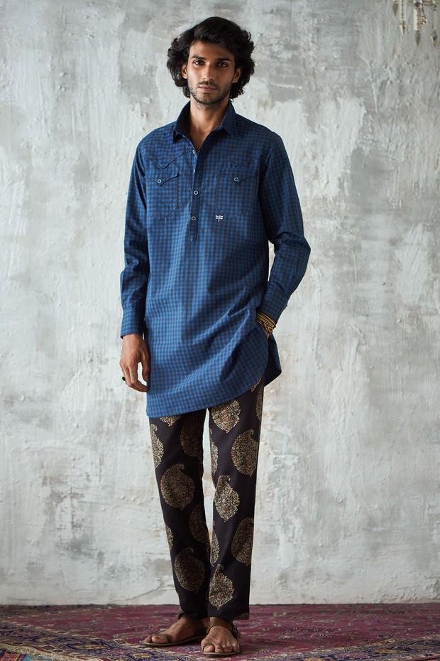Abeer Adhoi Flat Front Cotton Pant - Siyahi