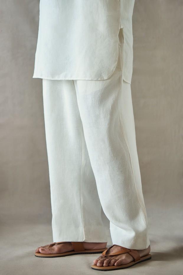 Abeer Bir Wide Legged Linen Pant (Ivory)