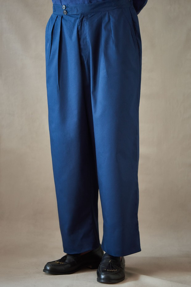Abeer Bir Wide Legged Linen Pant (Indigo)