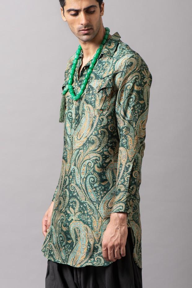 Marrakech Western Silk Kurta (Emerald)