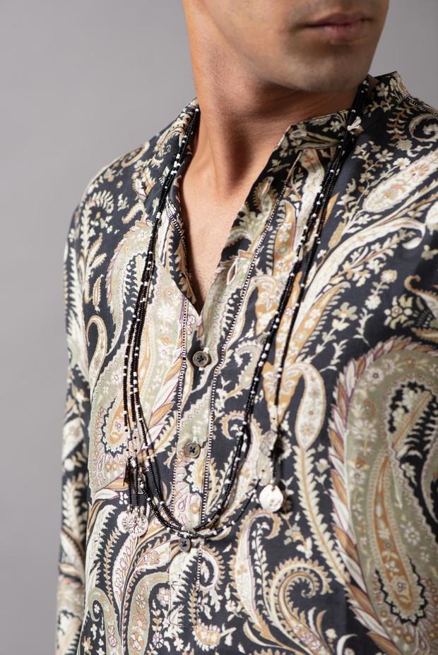 Marrakech Band Collar Silk Kurta (Black White)