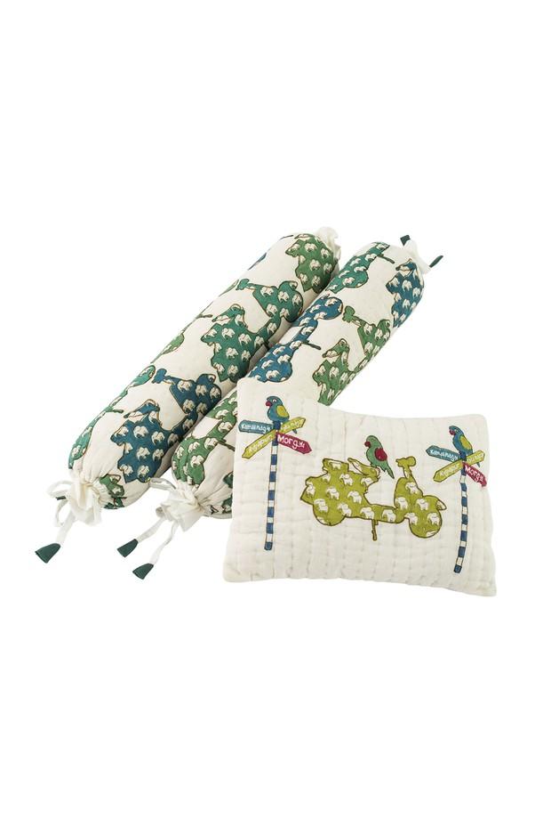 Miya Mithoo Muslin Cotton Bolster & Pillow Set