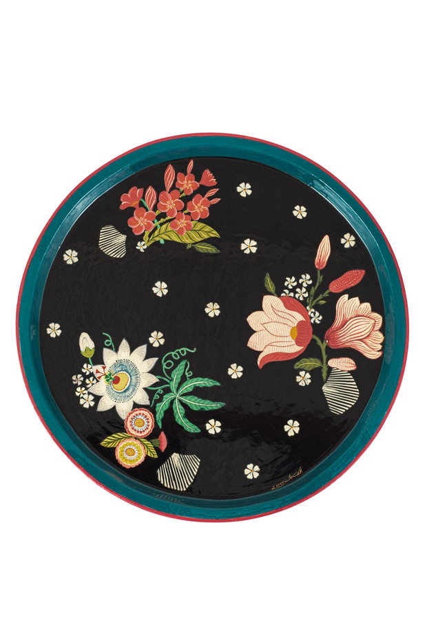 Floare Hand Painted Tray (Black)