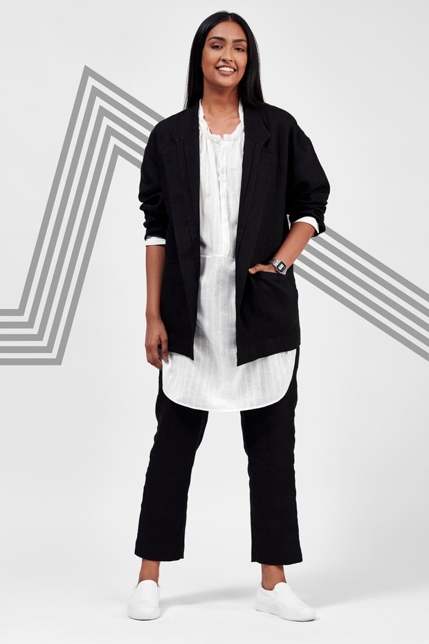 Flow Linen Jacket (Black)