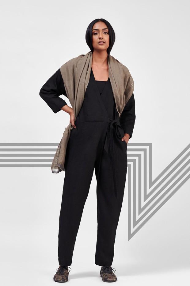 Flow Linen Wrap Jumpsuit (Black)