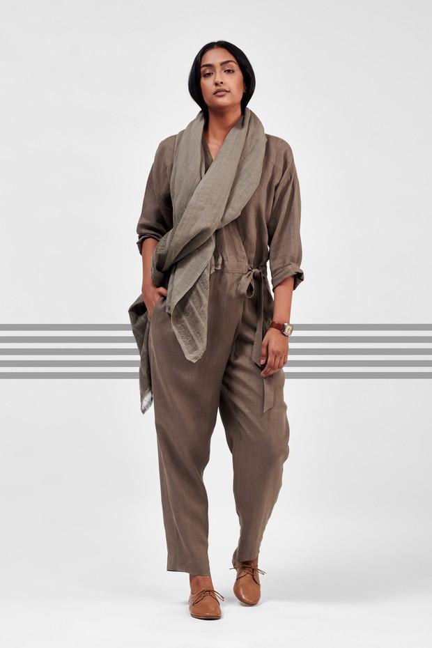Flow Linen Wrap Jumpsuit (Sufa)