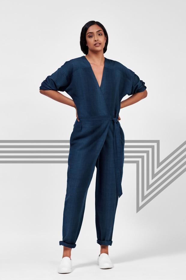 Flow Linen Wrap Jumpsuit (Blue)
