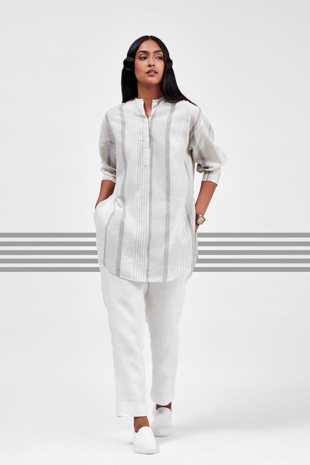 Flow Elasticated Cotton Cuff Shirt (Mogra)