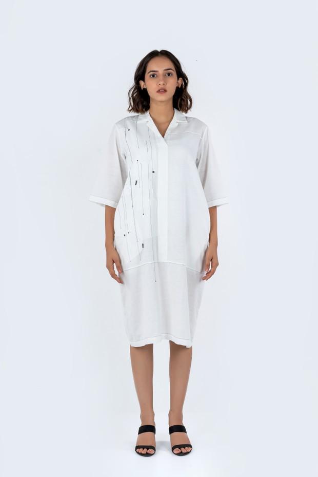 Soham Dave Shadow Dress (White )