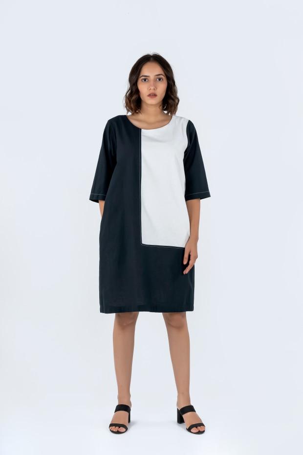 Soham Dave Light & Shadow Dress (Black-White)