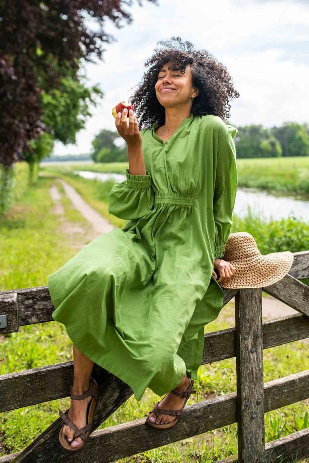 Crow Mistletoe Cotton Dress (Green)