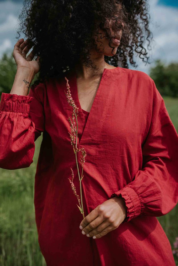Crow Hibiscus Red Oversized Pure Cotton Dress