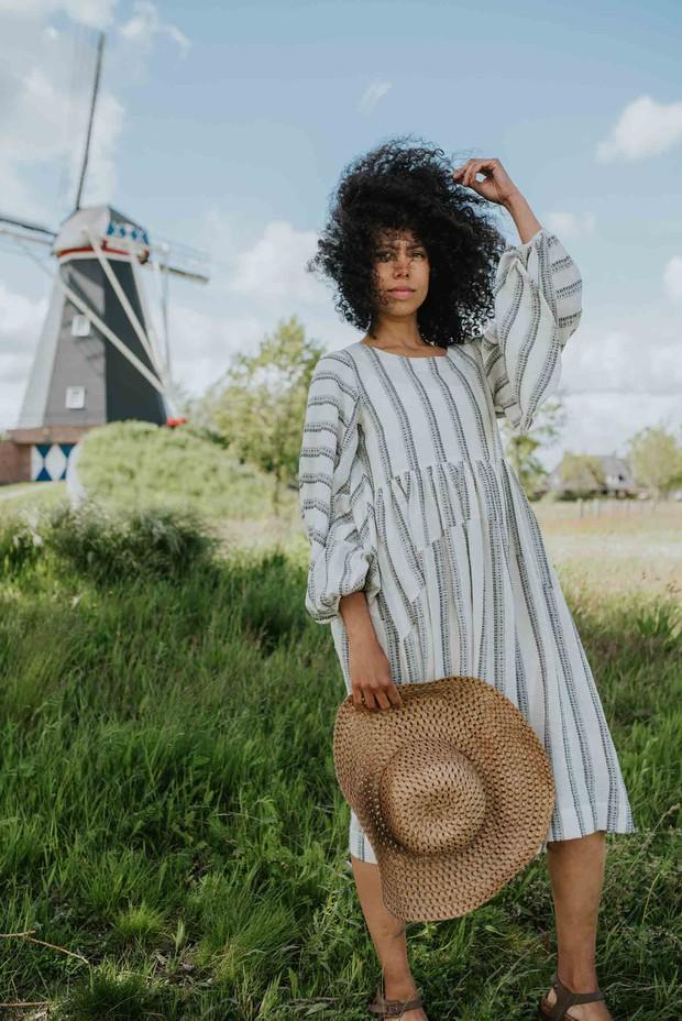 Crow Achromatic Stripes Textured Organic Cotton Dress