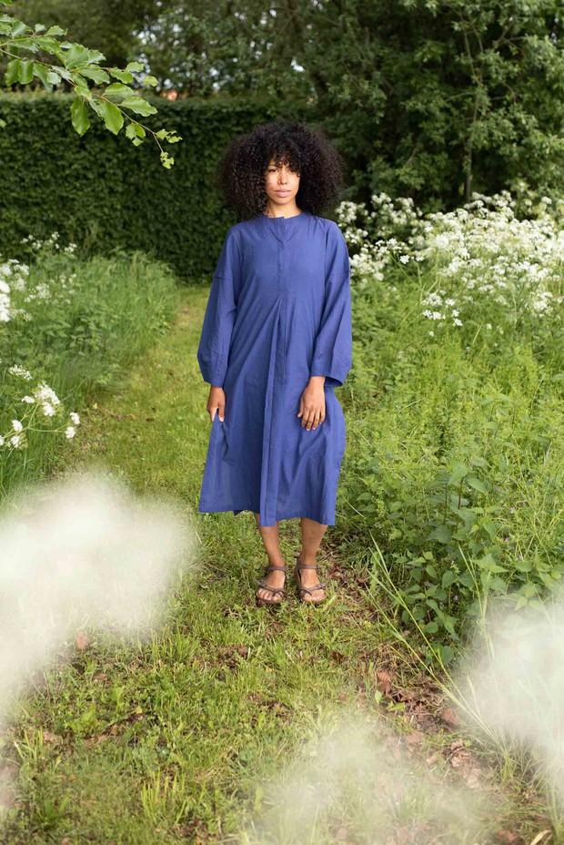 Crow French Blue Pure Cotton Midi Dress