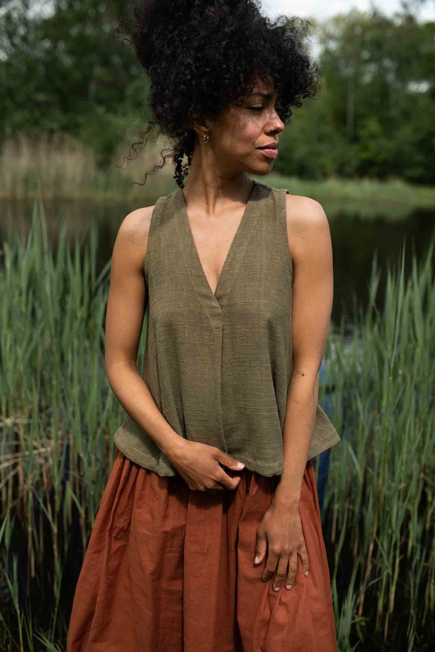 Crow Earthy Olive Flowy Organic Cotton Top
