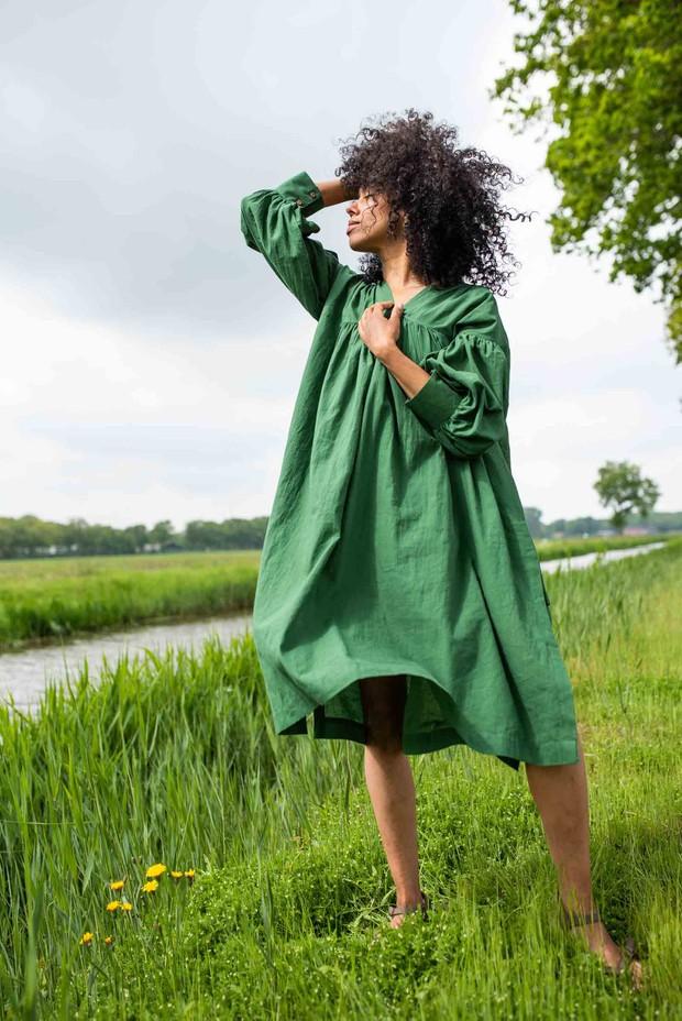 Crow Basil Green Pure Cotton Summer Dress