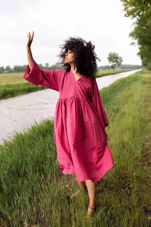 Crow Sorbet Pink Gathered Midi Dress